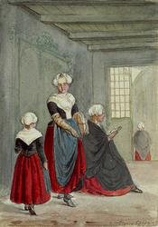 RI-866-1 Kleding der meisjes in het Gereformeerde Burgerweeshuis aan de Goudsewagenstraat: 2 tekeningen in één karton: ...