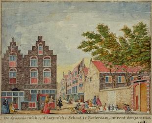 RI-908 Het Erasmiaans Gymnasium in de Wijde Broedersteeg, omstreeks 1723.