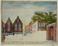 RI-909 Het Erasmiaans Gymnasium in de Wijde Broedersteeg, links de Bagijnenhofstraat. Onafgewerkte tekening.