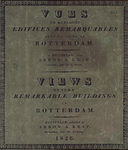 RI-922 Gezichten op enkele bijzondere gebouwen in de stad Rotterdam. Afgebeeld: het titelblad met de Franse en Engelse titel.