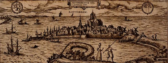 RI-96 De stad Rotterdam, omringd door water. Rechts de Oostzeedijk en de ingestorte Oostpoort. Links boven het wapen ...