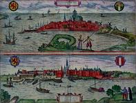 RI-97 De stad Rotterdam, omringd door water. Rechts de Oostzeedijk en de ingestorte Oostpoort. Links boven het wapen ...