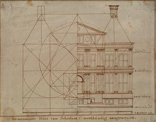 RI-982-1 Bouwtekening van het Schielandshuis in de Korte Hoogstraat.