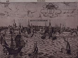 RI-99 Gezicht op de stad Rotterdam vanaf de Nieuwe Maas omstreeks 1565.
