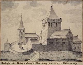 RISCH-109 Kerk aan de Kerkstraat en omgeving te Hillegersberg in het jaar 1500..