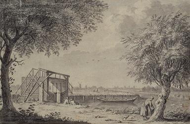 RISCH-113 Sluisje bij de Oranje Boom aan de Rotte anno 1759, waarschijnlijk Berg- en Broekse Verlaat.