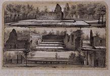 RISCH-114A Gezicht op de begraafplaats in Hillegersberg.3 afbeeldingen op 1 blad.
