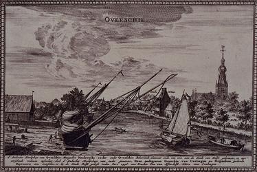 RISCH-131 Gezicht op Overschie uit NW. Rechts het dorp met de kerk en het 'Stadts Tolhuys'. Links een scheepswerf aan ...