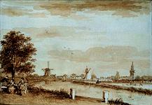 RISCH-138 Overschie gezien van de Delftse Schie op het voorland van Leeuwenhof.