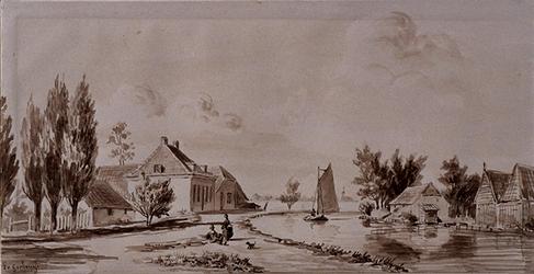 RISCH-144 Gezicht aan den Rijweg, bij de Schans, onder Overschie, met de houtloodsen van de Zusjes aan den overkant in 1860