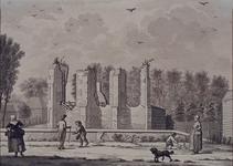 RISCH-150 Gezigt van de ruïne der kerk op Schoonderloo naar het leeven geteekend, door D. Welle, 4 augustus 1794 .