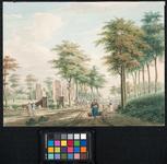 RISCH-151 Rechts de Westzeedijk, links de ruïne van de in 1572 verwoeste kerk van Schoonderloo. Gezien uit westelijke ...