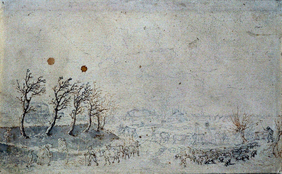 RISCH-152 Gezicht op een gedeelte van Schoonderloo, in de winter van 1796. Op de voorgrond veehoeders met kuddes koeien ...