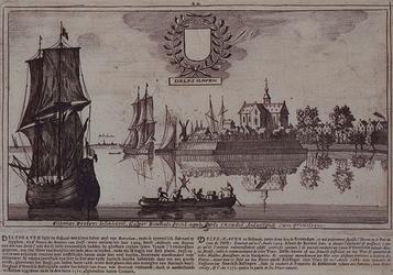 RISCH-166 Gezicht op de Delfshaven en de Nieuwe Maas, op de achtergrond Schiedam.