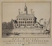 RISCH-174 Zee-magazijn van de Oost-Indische Compagnie, staande op de stads(Delfs)-haven, gebouwd Ao 1672.