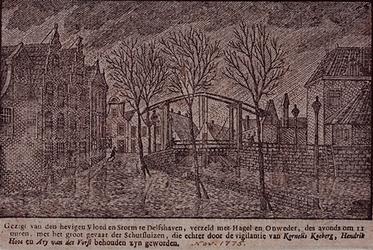 RISCH-176-2 14 november 1775Stormvloed op de Delfshaven / Aelbrechtskolk.