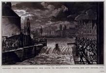 RISCH-177 14 november 1775Overstroming sluis te Delfshaven.Aelbrechtskolk met op de voorgrond de sluis waar het water ...
