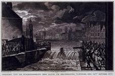 RISCH-177-3 14 november 1775Overstroming sluis te Delfshaven.Aelbrechtskolk met op de voorgrond de sluis waar het water ...