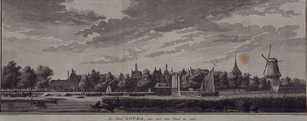 RISCH-201 De stad Gouda, vanafr de IJssel te zien.