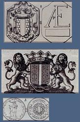 RISCH-221 1. Afbeelding van van een armenpenning van Gouda.2. Afbeelding van het wapen van Gouda .3. Afbeelding van een ...