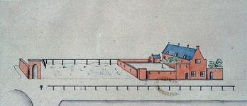 RISCH-253 Leprooshuis te Schiedam, in 1598, getekend na de grondkaart van J.D. Gheyn.