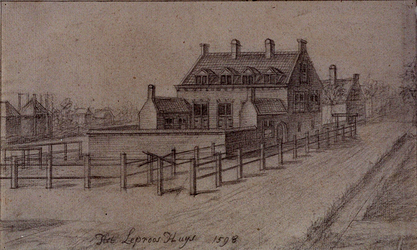 RISCH-253A Het Leproos Huys anno 1598 te Schiedam. Naar een tekening van Van Gheyn.