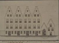 RISCH-255 Tijckwerkers Huyzen te Schiedam getekend na de grondkaart van J.D. Ghein 1598 welk die stad bezit.