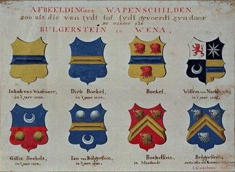 RISCH-41 Afbeelding der Wapenschilden zoo als die van tydt tot tydt gevoerdt zijn door de heeren van Bulgerstein en Wena.