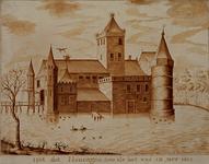 RISCH-60 Voorstelling van het slot Honingen in jaar 1420.