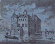 RISCH-87 Het slot Spangen (15e eeuw) in de Spaansepolder.