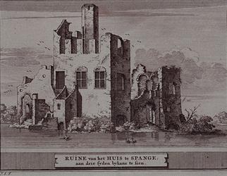 RISCH-88 Ruïne van het Huis te Spange aan drie syden bykens te sien .