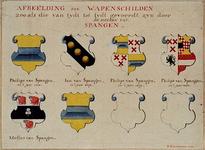 RISCH-92 Afbeelding van wapenschilden van de heren van Spangen.