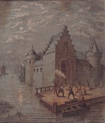 V-0-01 De St. Laurenspoort, aan de Oudehaven, ca. 1400.