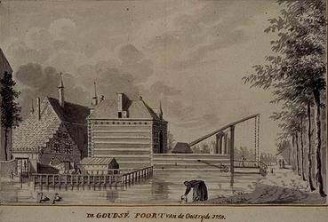 V-104-02 De Goudse Poort anno 1759, van de oostzijde.