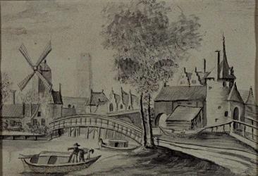 V-108-1 Gezicht op de Hofpoort, Galerijbrug en de Blauwe molen (?) c. 1650