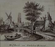 V-108-2 Gezicht op de Hofpoort, Galerijbrug en de Blauwe molen (?)