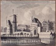 V-109-01 Gezicht op de Hofpoort, Bolwerk, Pompenburg en Blauwe molen aan het Hofplein.