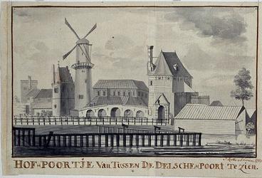 V-117-01 Vanuit de Delftse Poort zicht op de Hof Poort.