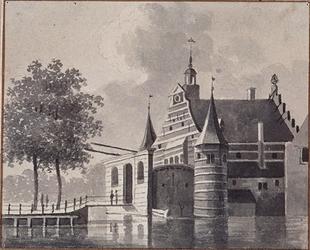 V-128-01 Gezicht op de Delftse Poort aan de Coolsingel, uit het westen.