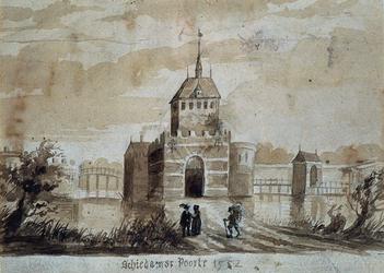 V-178 De Schiedamse poort vanuit het zuiden gezien.