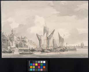 V-20 Gezicht vanaf het Bolwerk op de mond van de Oudehaven, de Ooster Oudehoofdpoort en het havenhoofd aan de ...