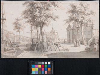V-57 Op de voorgrond het Bolwerk en links de Hertekade langs de Wijnhaven. Verderop de Wester Oudehoofdpoort (rechts) ...