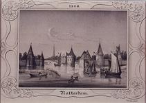 V-6 De Kolk en rechts de St. Laurenspoort, aan de Oudehaven, ca. 1500.