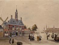 V-81 Gezicht op de Oostpoort aan het Oostplein, uit het noordwesten.(Topografisch onjuist: een compositie)