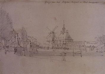 V-85 v.l.n.r. De brug over de Nieuwehaven en Boerengat; korenmolen de Noord en de Oostpoort; de Stadskarrenstal.
