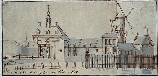 V-86 De Oostpoort van de Lange Warande te zien anno 1757.