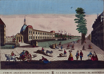 VII-134 Gezicht op de Blaak met de Beurs en de Gapersbrug, uit het zuidoosten. (in spiegelbeeld)