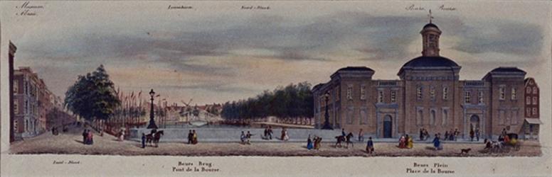 VII-136 Gezicht van de Beursbrug op de Beurs, de Zuid- en Noordblaak.