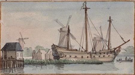 VII-145 Gezicht op de Boerengat met een zeeschip, op de achtergrond houtzaagmolens.
