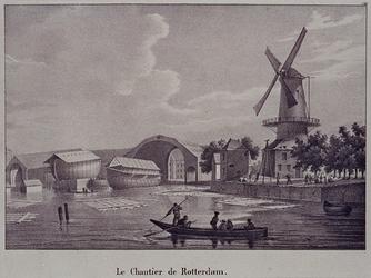VII-151 Gezicht op het Boerengat, met links 's-Lands Werf, rechts de Roomolen aan de Oostmolenwerf, uit het zuidoosten.
